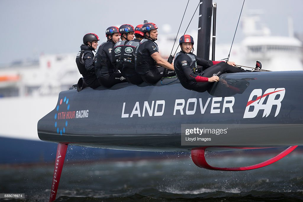Catherine, Duchess of Cambridge joins the Land Rover BAR team on board their training boat, as they helm and sail the teams foiling race catamaran, close to the Southsea shore while running a training circuit on the Solent on May 20, 2016 in Portsmouth, England.