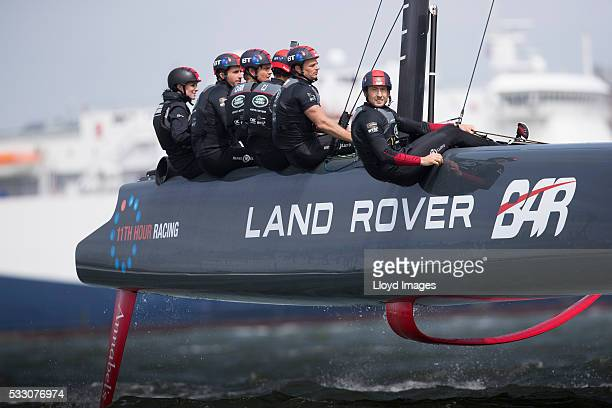Catherine, Duchess of Cambridge joins the Land Rover BAR team on board their training boat, as they helm and sail the teams foiling race catamaran,...