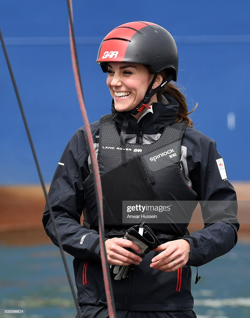 Catherine, Duchess of Cambridge joins the Land Rover Bar team, who are challenging for the 2017 America's Cup, on board their training boat on the Solent on May 20, 2016 in Portsmouth, England.