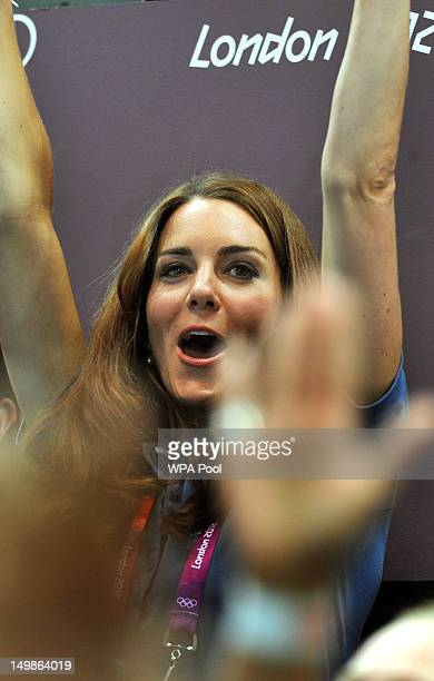 Catherine Duchess of Cambridge jubilates during the Women's Handball Preliminaries Group A match between Great Britain and Croatia on Day 9 of the...