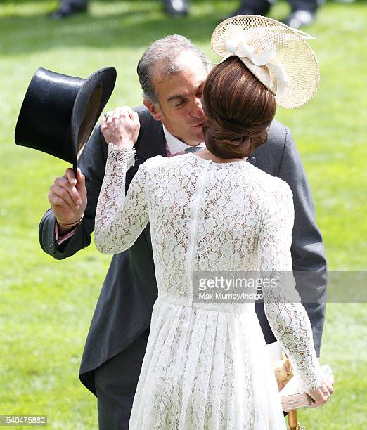 Catherine Duchess of Cambridge kisses Edward van Cutsem as they attend day 2 of Royal Ascot at Ascot Racecourse on June 15 2016 in Ascot England