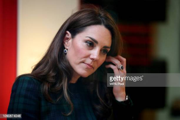 Catherine Duchess of Cambridge known as the Duchess of Strathearn when in Scotland visits Dundee to officially open the VA Dundee on January 29 2019...