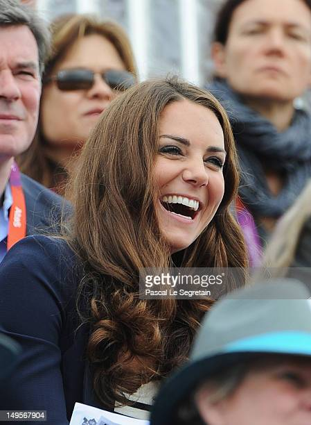 Catherine Duchess of Cambridge laughs against Sweden she look on during the Show Jumping Eventing Equestrian on Day 4 of the London 2012 Olympic...