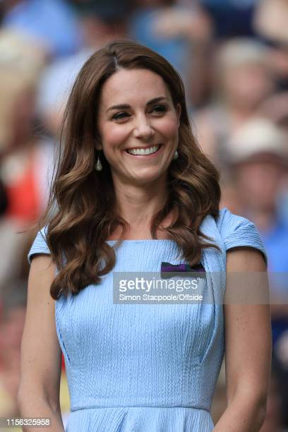 Catherine Duchess of Cambridge laughs and smiles on Day 13 of The Championships Wimbledon 2019 at the All England Lawn Tennis and Croquet Club on...