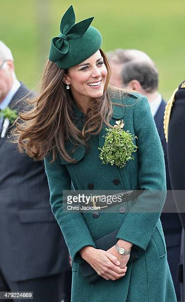 Catherine, Duchess of Cambridge laughs as she attends the St Patrick's Day parade at Mons Barracks on March 17, 2014 in Aldershot, England....
