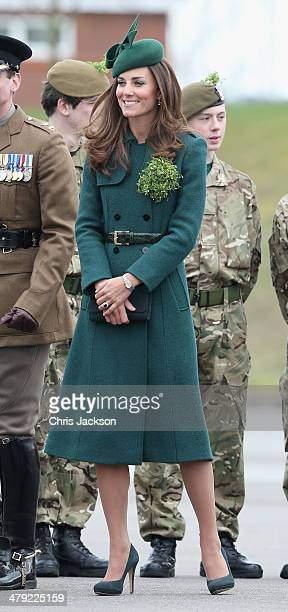 Catherine Duchess of Cambridge laughs as she attends the St Patrick's Day parade at Mons Barracks on March 17 2014 in Aldershot England Catherine...
