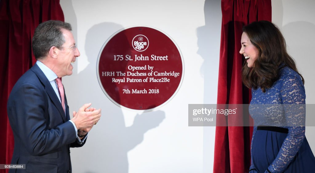 Catherine, Duchess of Cambridge laughs as she officially opens the new headquarters of children's mental health charity Place2Be on March 7, 2018 in London, England.