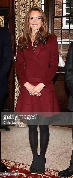 Catherine Duchess of Cambridge laughs as she visits Middle Temple on October 8 2012 in London England The Duke of Cambridge Master of the Bench and...