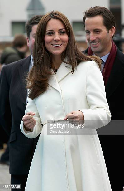 Catherine Duchess of Cambridge laughs as she visits the home of Ben Ainslie Racing in Portsmouth Old Town on February 12 2015 in Portsmouth England