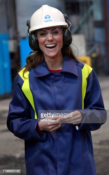 Catherine Duchess of Cambridge laughs during a visit to Tata Steel on February 04 2020 in Port Talbot Wales