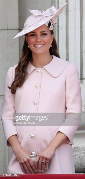 Catherine Duchess of Cambridge laughs on the balcony of Buckingham Palace during the annual Trooping the Colour Ceremony on June 15 2013 in London...