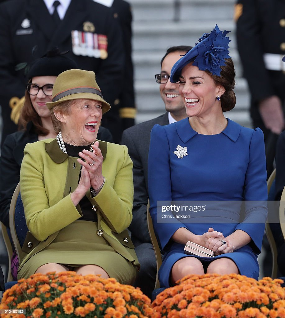 Catherine, Duchess of Cambridge laughs with Sharon Johnston as they listen to Prince William, Duke of Cambridge speak french at the Official Welcome Ceremony for the Royal Tour at the British Columbia Legislature on September 24, 2016 in Victoria, Canada. Prince William, Duke of Cambridge, Catherine, Duchess of Cambridge, Prince George and Princess Charlotte are visiting Canada as part of an eight day visit to the country taking in areas such as Bella Bella, Whitehorse and Kelowna.