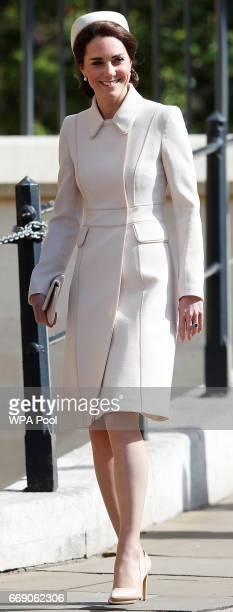 Catherine Duchess of Cambridge leave the Easter Day service at St George's Chapel on April 16 2017 in Windsor England