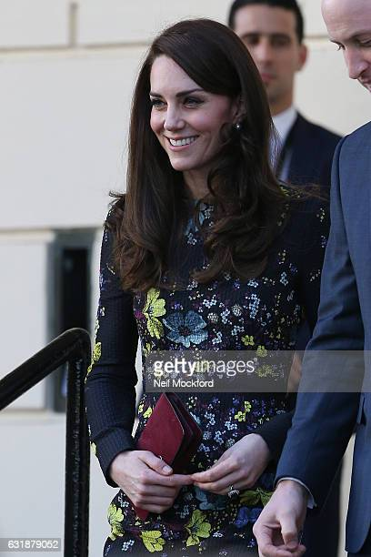 Catherine Duchess of Cambridge leaves a briefing to announce plans for Heads Together ahead of the 2017 Virgin Money London Marathon at ICA on...