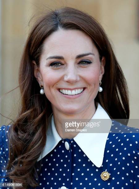 Catherine Duchess of Cambridge leaves after a visit to the DDay exhibition at Bletchley Park on May 14 2019 in Bletchley England The DDay exhibition...