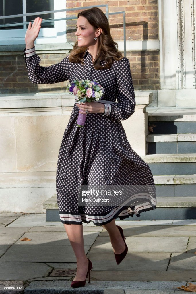 Catherine, Duchess of Cambridge leaves after a visit to The Foundling Museum on November 28, 2017 in London, England.