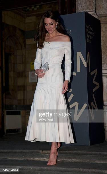 Catherine, Duchess of Cambridge leaves after announcing the Victoria and Albert Museum as the winner of the Art Fund Museum of the Year 2016 prize at...