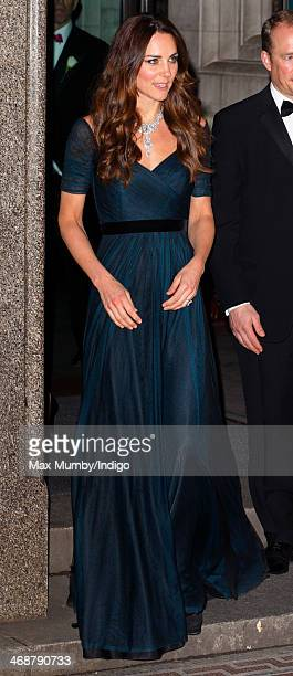 Catherine Duchess of Cambridge leaves after attending The Portrait Gala 2014 Collecting to Inspire at the National Portrait Gallery on February 11...