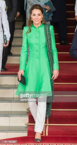 Catherine, Duchess of Cambridge leaves after meeting Pakistan's Prime Minister Imran Khan at his official residence on October 15, 2019 in Islamabad,...