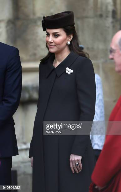 Catherine Duchess of Cambridge leaves after the Easter Mattins Service at St George's Chapel at Windsor Castle on April 1 2018 in Windsor England