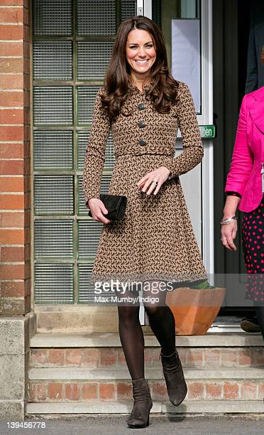 Catherine Duchess of Cambridge leaves after visiting The Art Room's classroom at Rose Hill Primary School on February 21 2012 in Oxford England