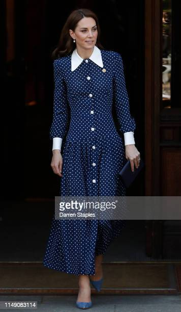 Catherine Duchess of Cambridge leaves after visiting the DDay exhibition at Bletchley Park on May 14 2019 in Bletchley England The DDay exhibition...