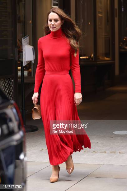 """Catherine, Duchess of Cambridge leaves BAFTA after making a keynote speech on October 19, 2021 in London, England. Led by the Forward Trust, """"Taking..."""