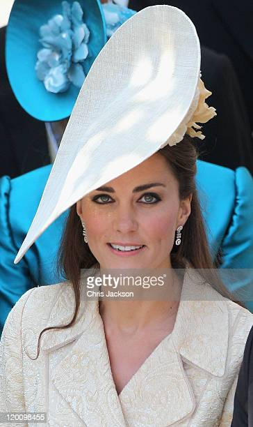 Catherine, Duchess of Cambridge leaves Canongate Kirk on the afternoon of the wedding of Mike Tindall and Zara Philips on July 30, 2011 in Edinburgh,...