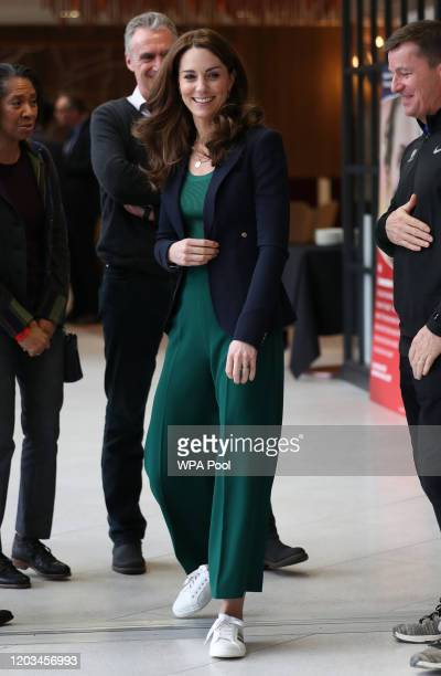 Catherine, Duchess of Cambridge leaves following a SportsAid Stars event at the London Stadium in Stratford on February 26, 2020 in London, England.