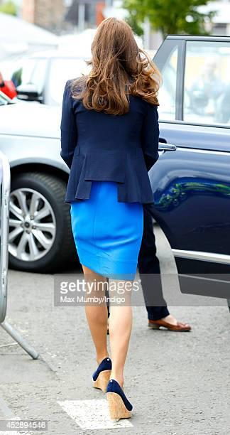 Catherine Duchess of Cambridge leaves Hampden Park after watching the athletics during the 20th Commonwealth Games on July 29 2014 in Glasgow Scotland