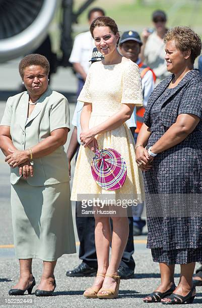 Catherine Duchess of Cambridge leaves Honiara International airport to head to Tuvalu during the Royal couple's Diamond Jubilee Tour of the Far East...