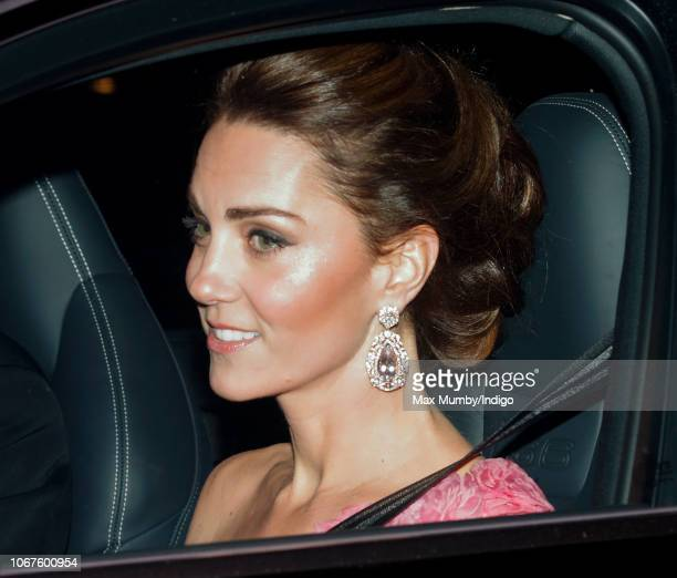 Catherine Duchess of Cambridge leaves Kensington Palace to attend Prince Charles Prince of Wales' 70th birthday party at Buckingham Palace on...