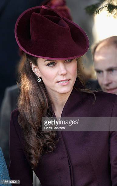 Catherine, Duchess of Cambridge leaves Sandringham Church after the traditional Christmas Day service at Sandringham on December 25, 2011 in King's...