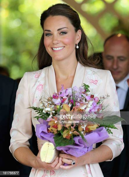 Catherine Duchess of Cambridge leaves Singapore Botanical Gardens after a visit on day 1 of a Diamond Jubilee tour on September 11 2012 in Singapore...