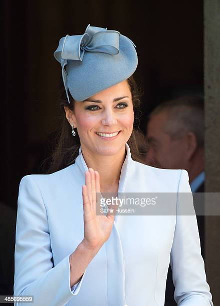 Catherine Duchess of Cambridge leaves St Andrew's Cathedral following a Easter Sunday Service on April 20 2014 in Sydney Australia The Duke and...