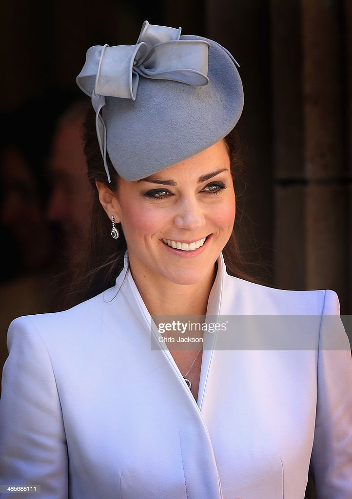 Catherine, Duchess of Cambridge leaves St Andrew's Cathedral for Easter Sunday Service on April 20, 2014 in Sydney, Australia. The Duke and Duchess of Cambridge are on a three-week tour of Australia and New Zealand, the first official trip overseas with their son, Prince George of Cambridge.