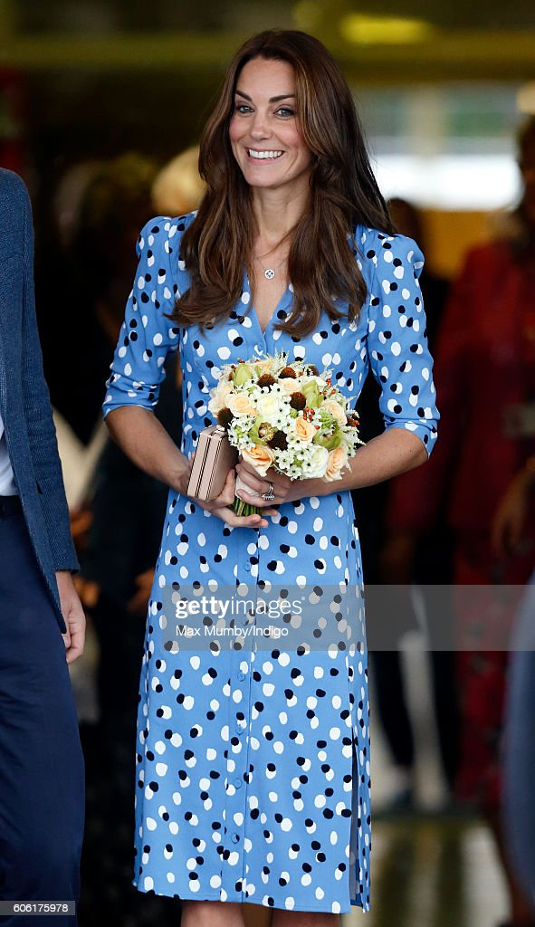Catherine, Duchess of Cambridge leaves Stewards Academy on September 16, 2016 in Harlow, England. The Duke and Duchess of Cambridge are visiting Stewards Academy as part of their Heads Together campaign to find out more about the pressures faced by young people when they are going through big changes in their lives, and learn about the support from peers and parents that can help them get through these changes.