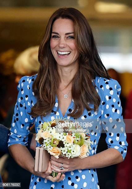 Catherine Duchess of Cambridge leaves Stewards Academy on September 16 2016 in Harlow England The Duke and Duchess of Cambridge are visiting Stewards...