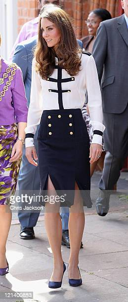 Catherine Duchess of Cambridge leaves Summerfield Community Centre on August 19 2011 in Birmingham England The Centre is at the heart of the Winson...