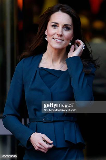 Catherine, Duchess of Cambridge leaves the 23rd ICAP annual Charity Day on December 9, 2015 in London, England.
