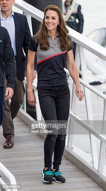 Catherine Duchess of Cambridge leaves the Ben Ainslie Racing team base to go and watch the racing on The Solent on July 24 2016 in Portsmouth England