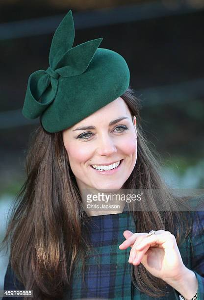 Catherine Duchess of Cambridge leaves the Christmas Day service at Sandringham on December 25 2013 in King's Lynn England