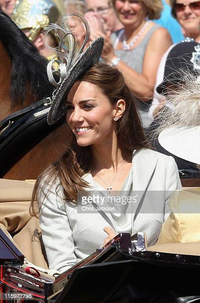 Catherine Duchess of Cambridge leaves the Garter Service in a carriage at St George's Chapel in Windsor Castle on June 13 2011 in Windsor England The...