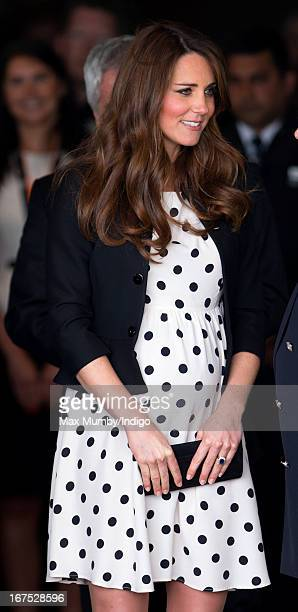 Catherine, Duchess of Cambridge leaves the Inauguration of Warner Bros. Studios Leavesden on April 26, 2013 in London, England.