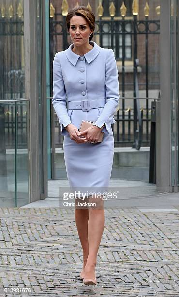 Catherine Duchess of Cambridge leaves the Mauritshuis Gallery during a solo visit to the Hague on October 11 2016 in the Hague Netherlands