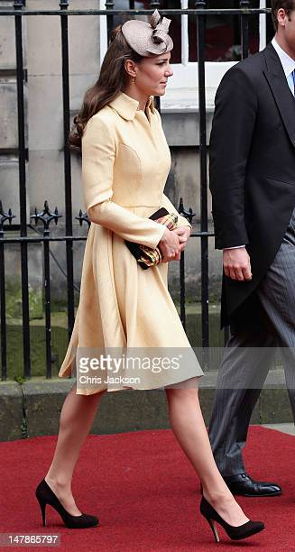Catherine Duchess of Cambridge leaves the Signet Library after lunch on July 5 2012 in Edinburgh Scotland Prince William Duke of Cambridge will today...