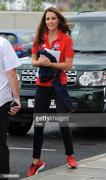 Catherine Duchess of Cambridge leaves the Velodrome after watching cycling events at the London 2012 Paralympic Games on August 30 2012 in London...
