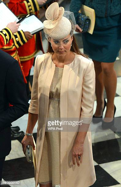 Catherine Duchess of Cambridge leaves Westminster Abbey following the service to celebrate the 60th anniversary of the Coronation of Queen Elizabeth...