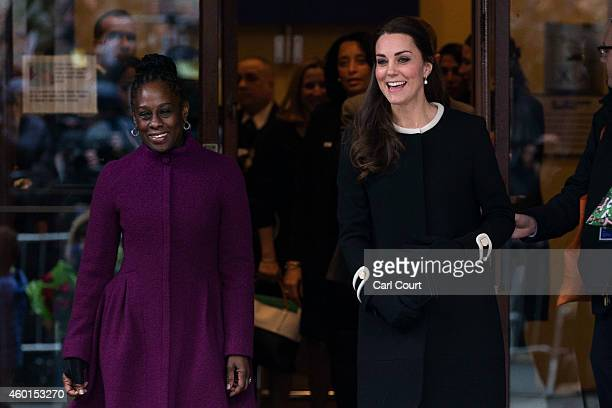 Catherine Duchess of Cambridge leaves with Chirlane McCray the wife of the current New York mayor after visiting Northside Center for Child...