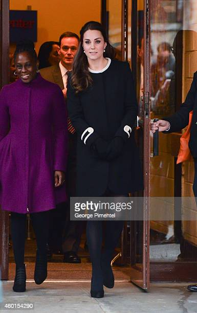 Catherine Duchess of Cambridge leaves with Chirlane McCray the wife of New York City's Mayor Bill di Blasio after visiting Northside Center for Child...
